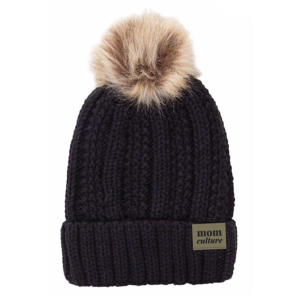 """Mom Culture"" Logo Fur Pom Pom Beanie"