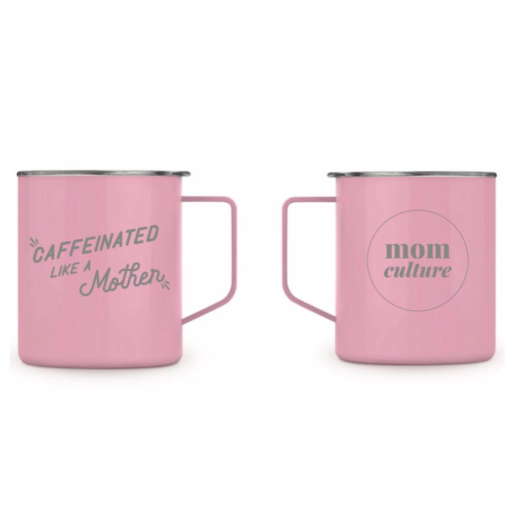 """Caffeinated like a Mother©"" 14 oz Stainless Steel Mug - Mom Culture"