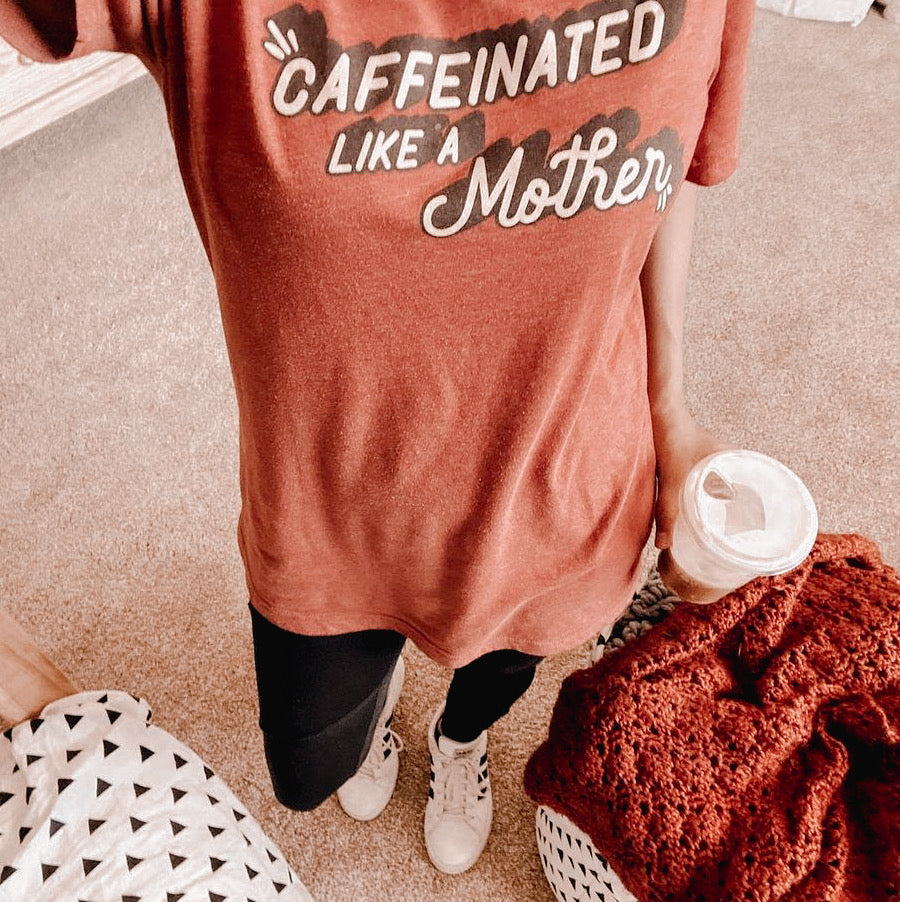 """Caffeinated Like A Mother©"" Tri-blend V-Neck Tee"