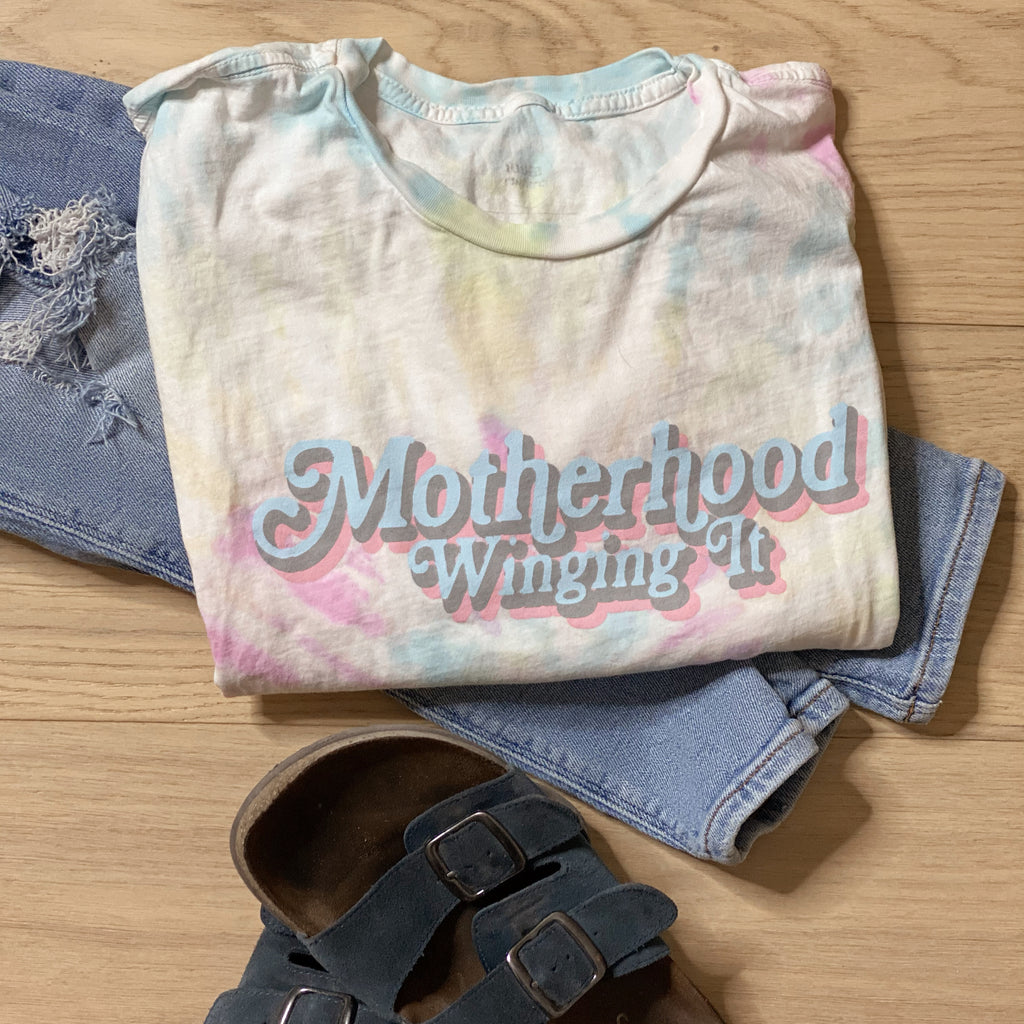 """Motherhood Winging It®"" Tie Dye Swirls Tee"