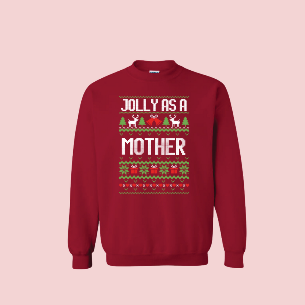 cardinal sweater jolly as a mother text with Christmas tree