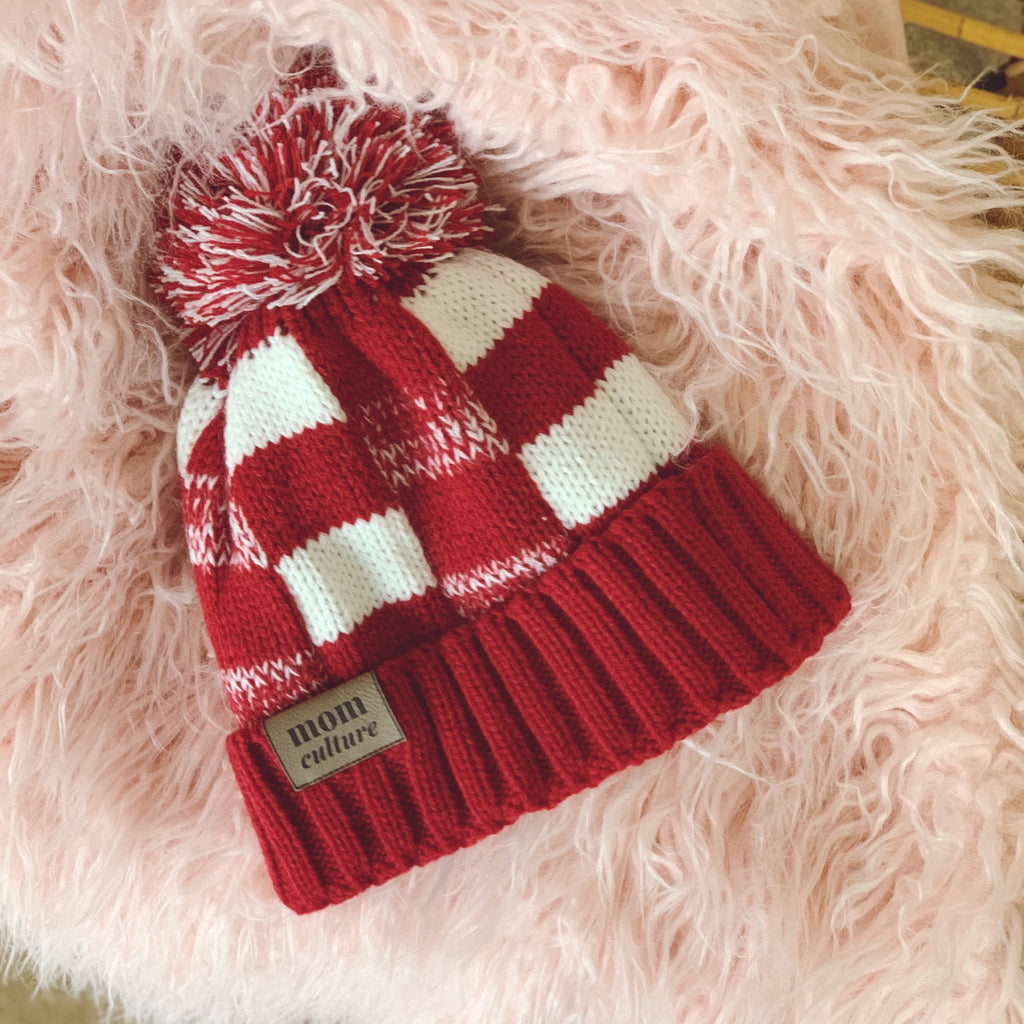 """Mom Culture"" Checkerboard Logo Beanie 