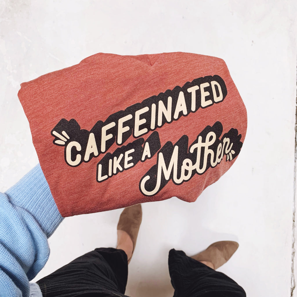 """Caffeinated Like A Mother©"" Tri-blend V-Neck Tee - Mom Culture"