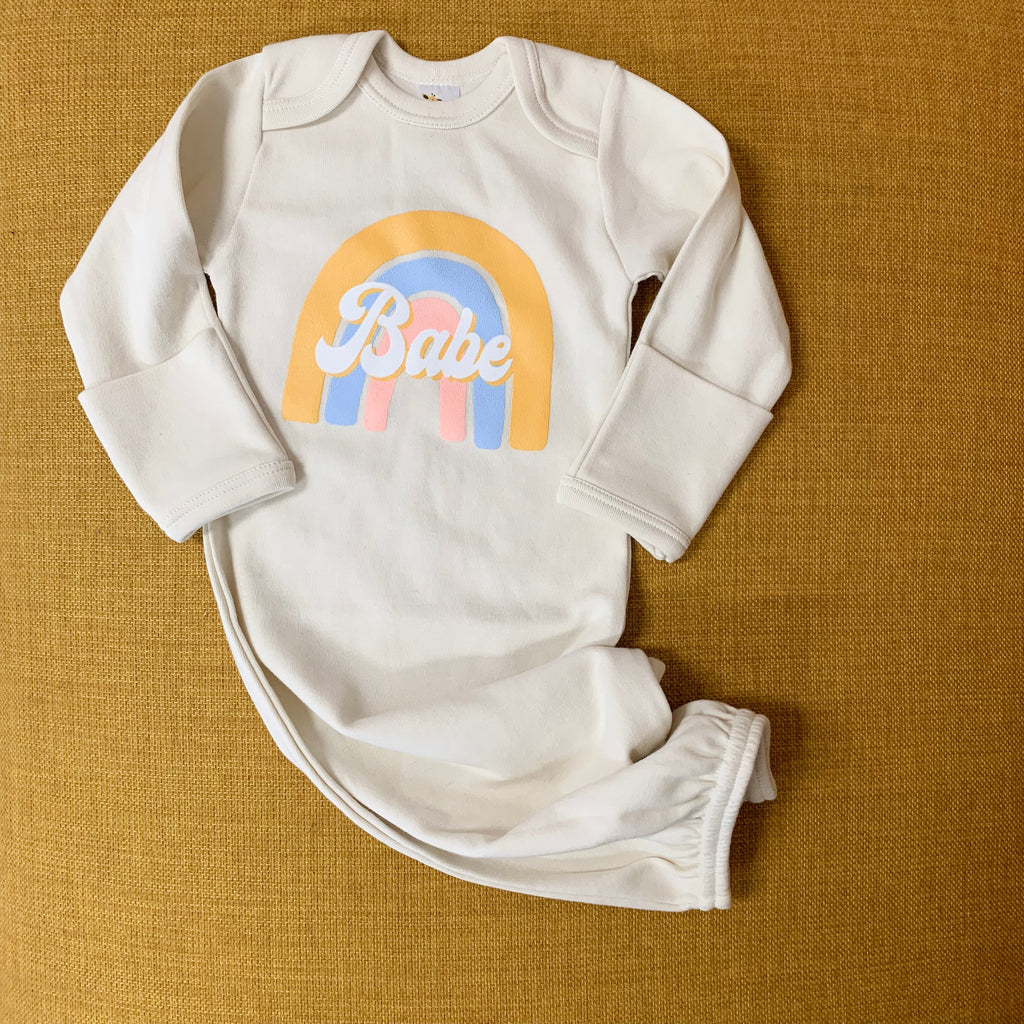 """Rainbow Babe ©"" Modern Baby Gown - Mom Culture"