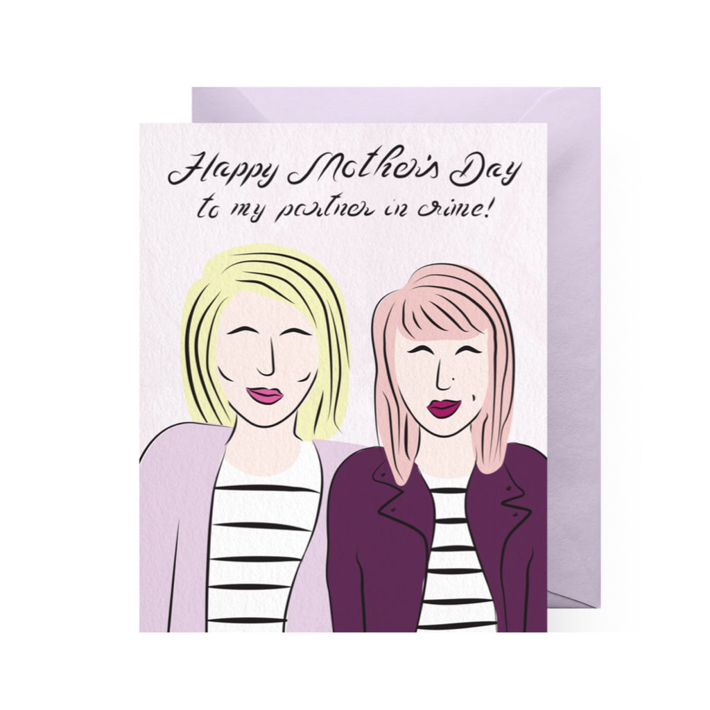 """Partners in crime"" Greeting Card - Mom Culture"