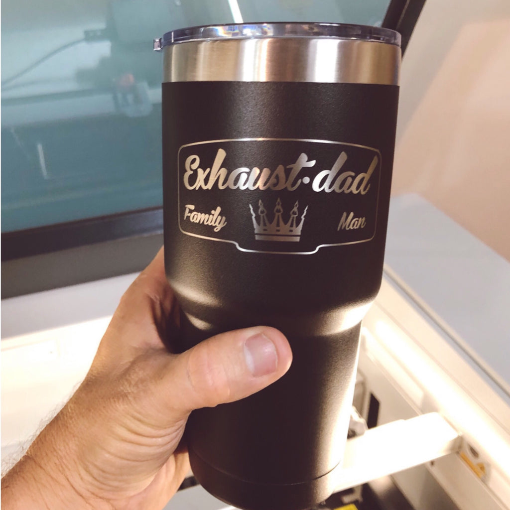 """EXHAUST•DAD Family Man©"" Stainless Steel Tumbler 30oz."