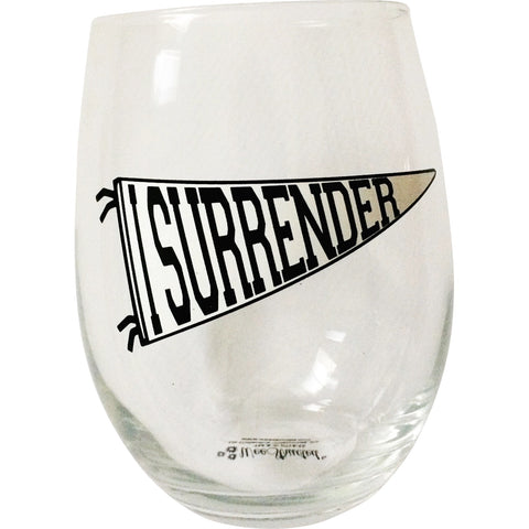 """I Surrender"" Stemless Wine Glass"