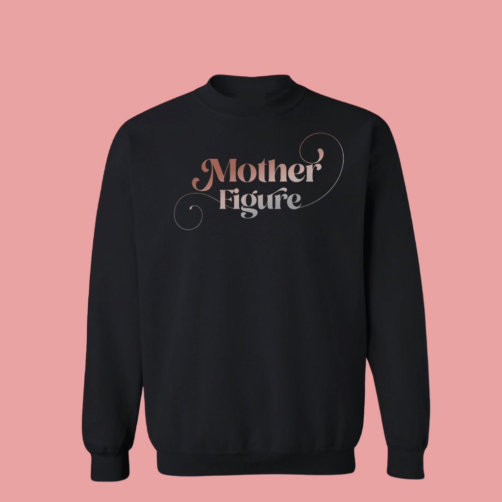 black pullover sweater mother figure rainbow imprint