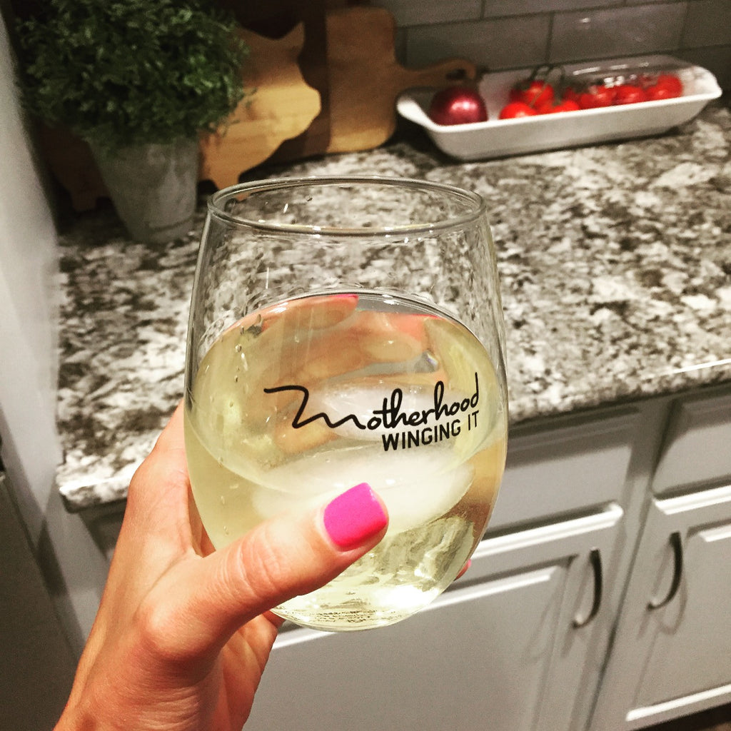 """Motherhood Winging It®"" Stemless Glass"