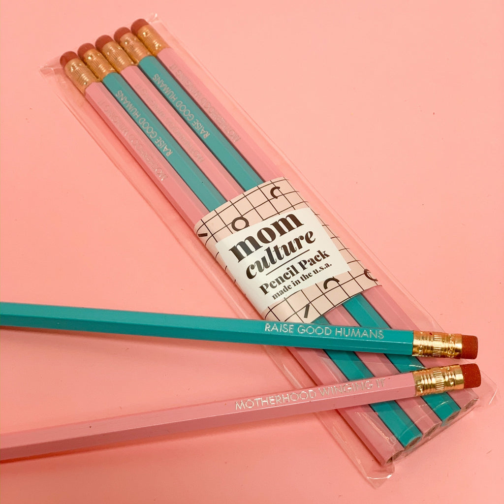pink and teal pencils made in use pack