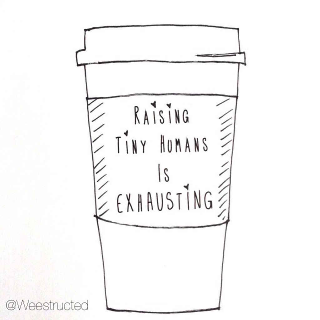 """Raising Tiny Humans is Exhausting®"" Mug - Hold the Cream - Mom Culture"