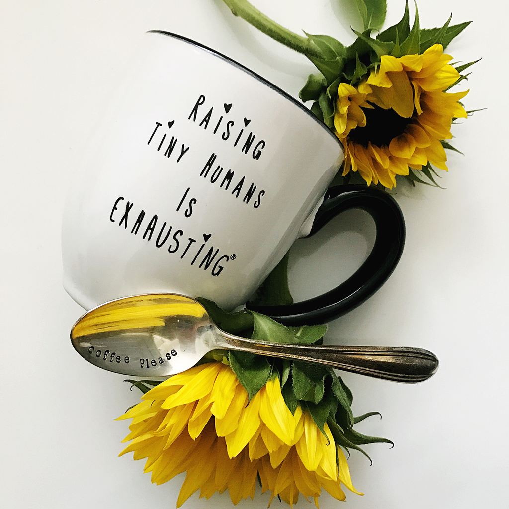 """Raising Tiny Humans is Exhausting®"" Mug - Made in the USA 