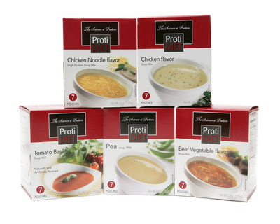 ProtiDIET Soup Nutritional Supplement 7 Pouches (5.4 oz) | Low Calorie Instant S