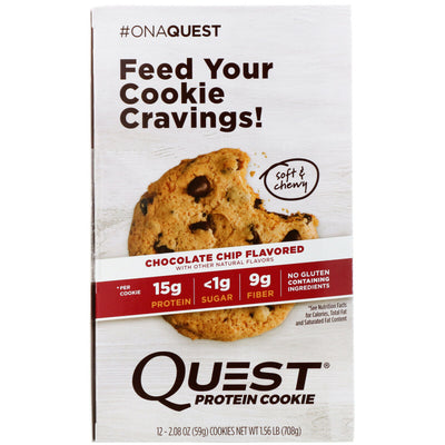 Protein Cookie, Chocolate Chip, 12 Pack, 2.08 oz (59 g) Each