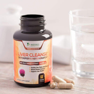 Liver Detox Cleanse & Regenerator Supplement, 1100mg Support W Milk Thistle
