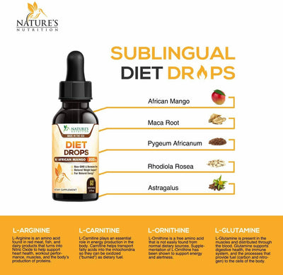 Natural Diet Drops, Highest Potency Weight Loss Fat Burning Appetite Suppressant, 1floz