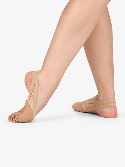 Body Wrappers: Lyrical Shoe, Half Sole, Canvas (#620A) Jazzy Tan