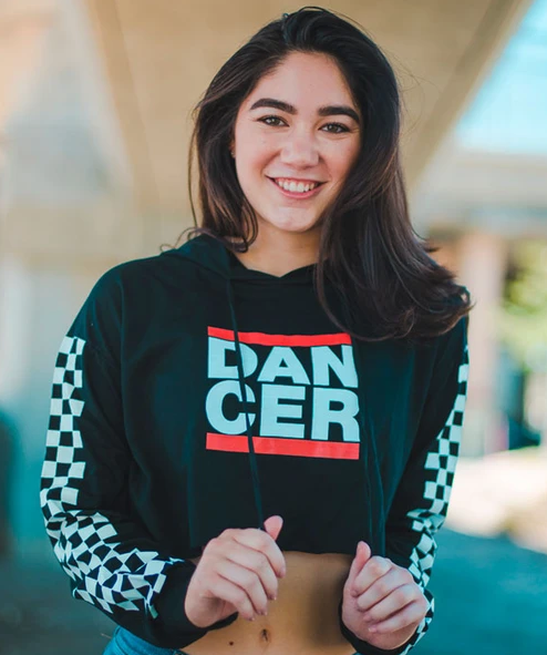 Covet: Dancer Racing Sleeve Crop Hoodie
