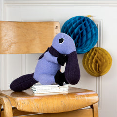 Lilac and purple duck billed platypus soft toy can be personalised
