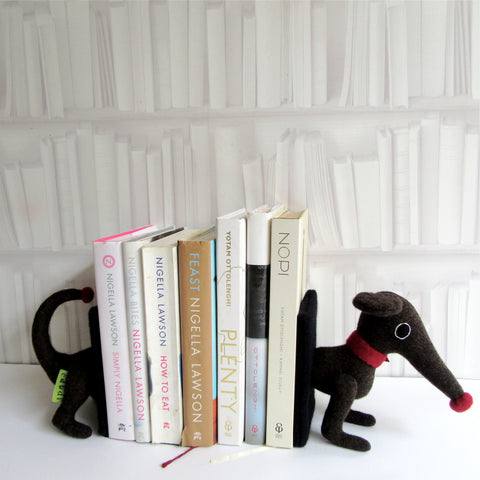 Handmade dachshund book ends for large books in brown.