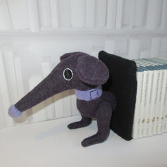 front end of dachshund bookends for children's books in purple
