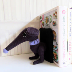 handmade dachshund bookends for large books in purple.