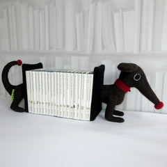 handmade dachshund bookends for children books in brown