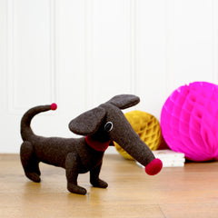 dark brown soft toy dachshund by cdbdi
