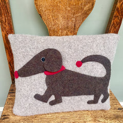Dachshund cushion in grey with red nose by cdbdi