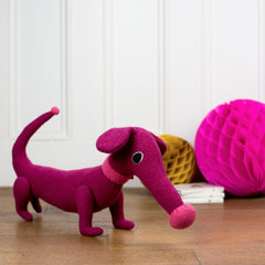 Dark pink soft toy dachshund by cdbdi