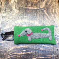 green dachshund glasses case or sunglasses case for dachshund lovers by cdbdi