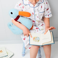 blue duck being read to by cdbdi