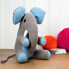 large handmade personalised soft toy elephant with blue ears