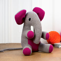 large personalised handmade soft toy elephant with pink ears