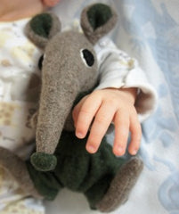 Soft toy shrew boy with green shorts by cdbdi