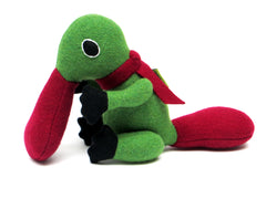 duck billed platypus soft toy in green and red
