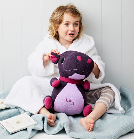 Hippo Soft Toy with a Little Girl