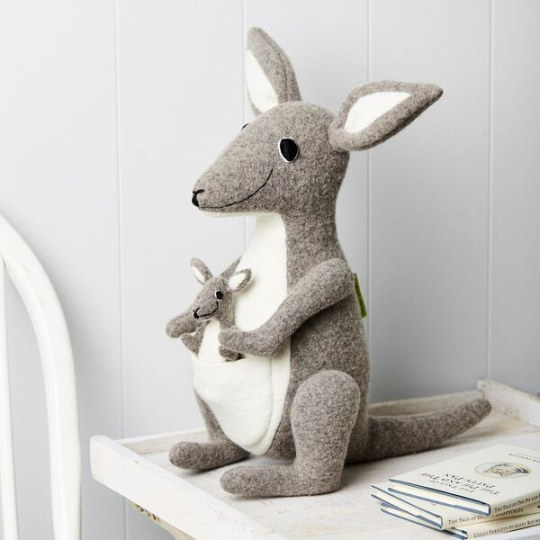 Kangaroo with Joey Wool Soft Toy