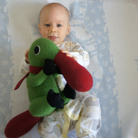 duck billed platypus in green and red with baby