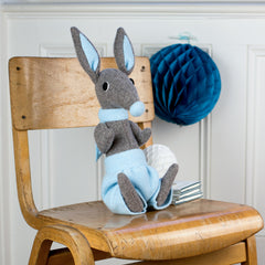grey boy bunny rabbit with blue shorts by cdbdi