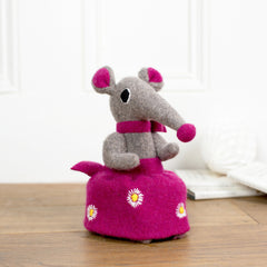 grey girl shrew with pink skirt soft toy by cdbdi