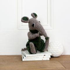 soft toy shrew with green shorts by cdbdi