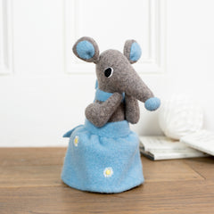 grey shrew girl soft toy with blue skirt by cdbdi