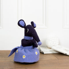 purple soft toy shrew with lilac skirt by cdbdi