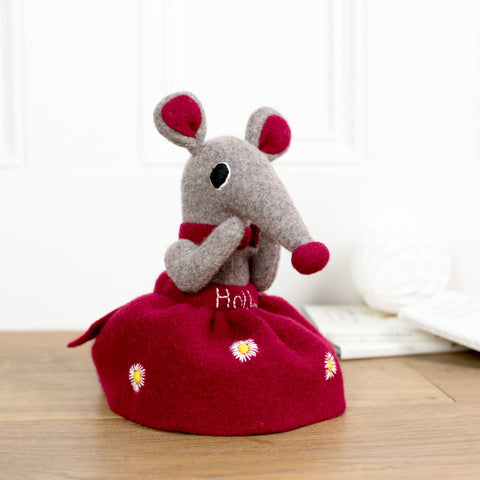 soft toy shrew girl with red skirt by cdbdi