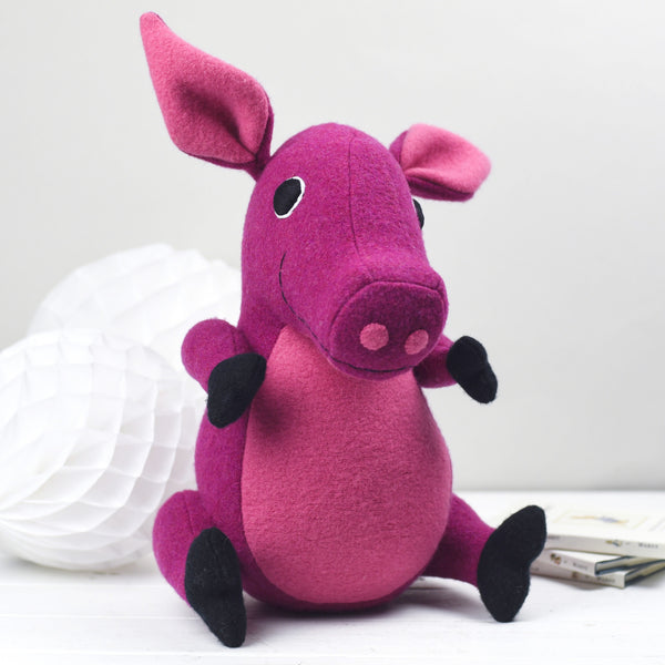 Soft toy pink pig handmade and personalised