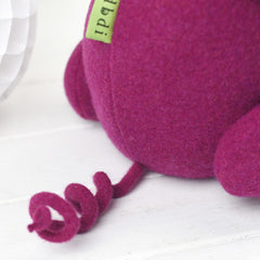Handmade and personalised soft toy pig