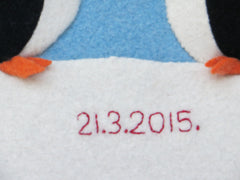 close up of date on personalised penguin cushion by cdbdi