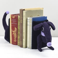 dachshund bookends in purple for large books