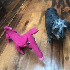 Dark pink dachshund soft toy by cdbdi